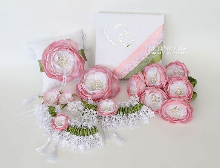 """Купить Набор свадебных аксессуаров """"Весенние цветы"""" - белый, свадебные аксессуары, аксессуары для свадьбы, для свадьбы"""