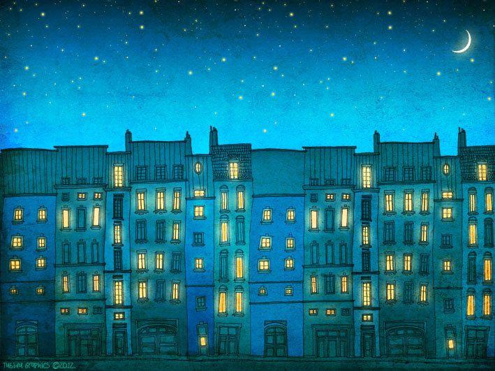 картинка на рисование ночные огни домов прошло одном ресторанов