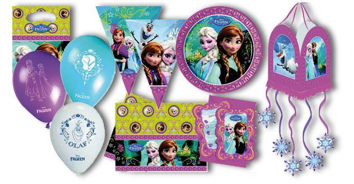Línea Frozen, de In.Ver.Cas.: Serie de artículos de celebración formada por: globos, bandera puerta, piñata, vasos, platos, bolsas, invitaciones, tiaras, servilletas y banderas triángulo.