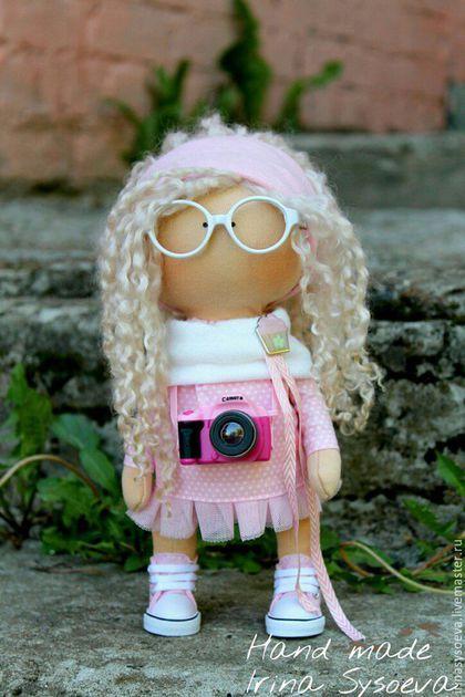 Коллекционные куклы ручной работы. Ярмарка Мастеров - ручная работа. Купить Малышка фотограф. Handmade. Бледно-розовый, подарок, фатин