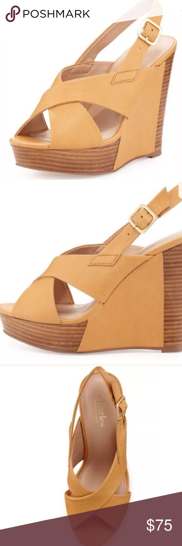 "Charles David Beige Platform Wedge Strappy Sandal Brand new in box Artist by Charles David Purchased from Neiman Marcus Retails $135 Charles by Charles David leather crisscross beige wedge sandal. 5"" stacked heel; 1"" platform; 4"" equiv. Peep toe. Golden buckle slingback strap. Padded footbed. Synthetic sole. Charles David Shoes Sandals"