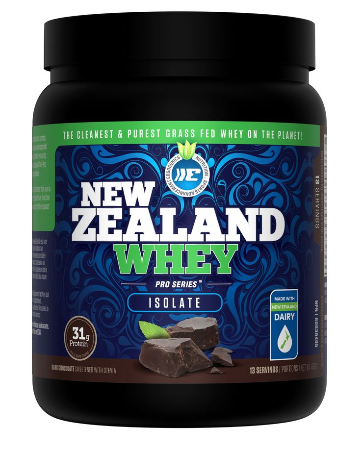 Ergogenics Nutrition-NZ Whey (Isolate) Chocolate - The New Zealand Whey Pro-Series Isolate is designed for Active individuals, Seniors, and Lacto-Vegetarians. Ergogenics Nutrition Isolated formula only uses Cross Flow Microfiltration (CFM) processing, which results in a 100% undenatured whey protein product. Isolated whey also yields a high percentage of protein and contains NO Fat and Lactose. It is rapidly absorbed by the body because it's water soluble, making it ideal for Athletes and…