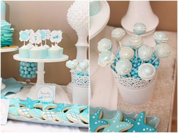 cake popsCupcakes Cake, Mermaid Theme, Mermaid Parties, Birthday Parties, Beach Parties, Cake Pop, Pools Parties, Mermaid Birthday, Parties Treats