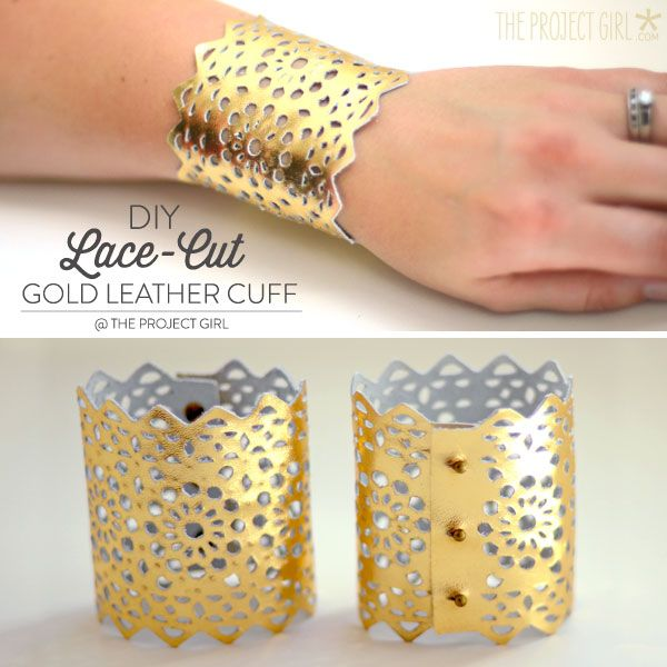 DIY Lace-cut gold leather cuff made with Cricut Explore -- The Project Girl. #DesignSpaceStar Round 2