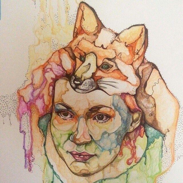 Портрет, лиса, акварельные карандаши