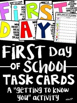 **Ink-saver and colored versions available** Need a fun activity for the first day of school?! Use these FIRST DAY task cards to get your kids up and moving around their new classroom! (I personally use them first thing in the morning, but you can use them whenever!)