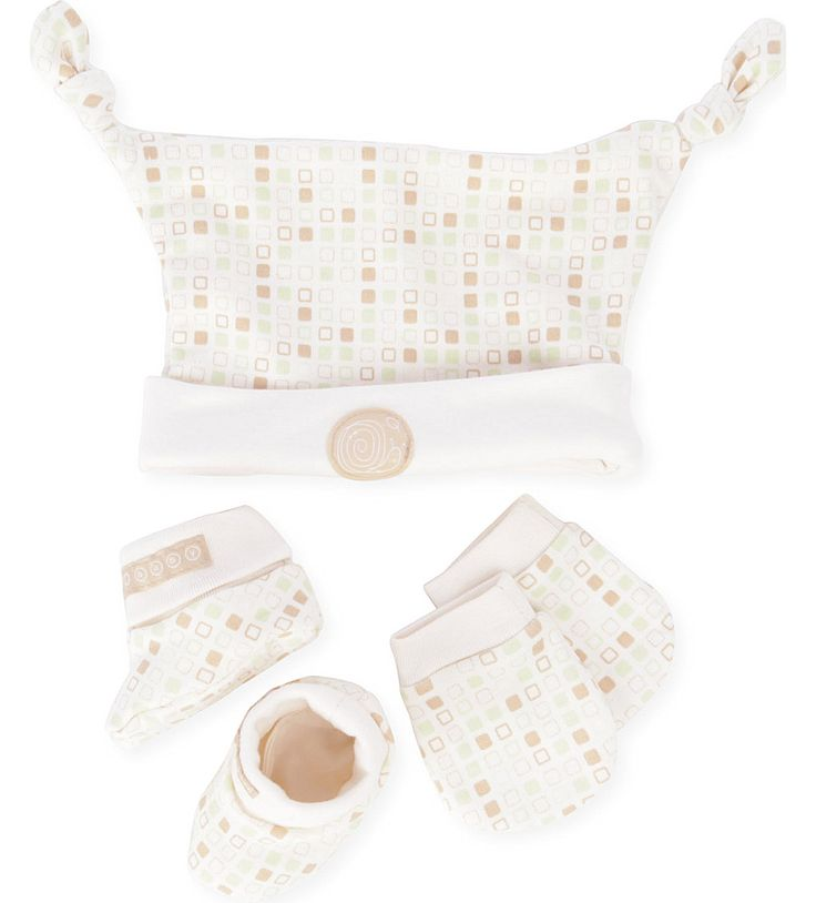 NATURES PUREST - Tiny Squares Hat Mitts and Bootees set   Selfridges.com