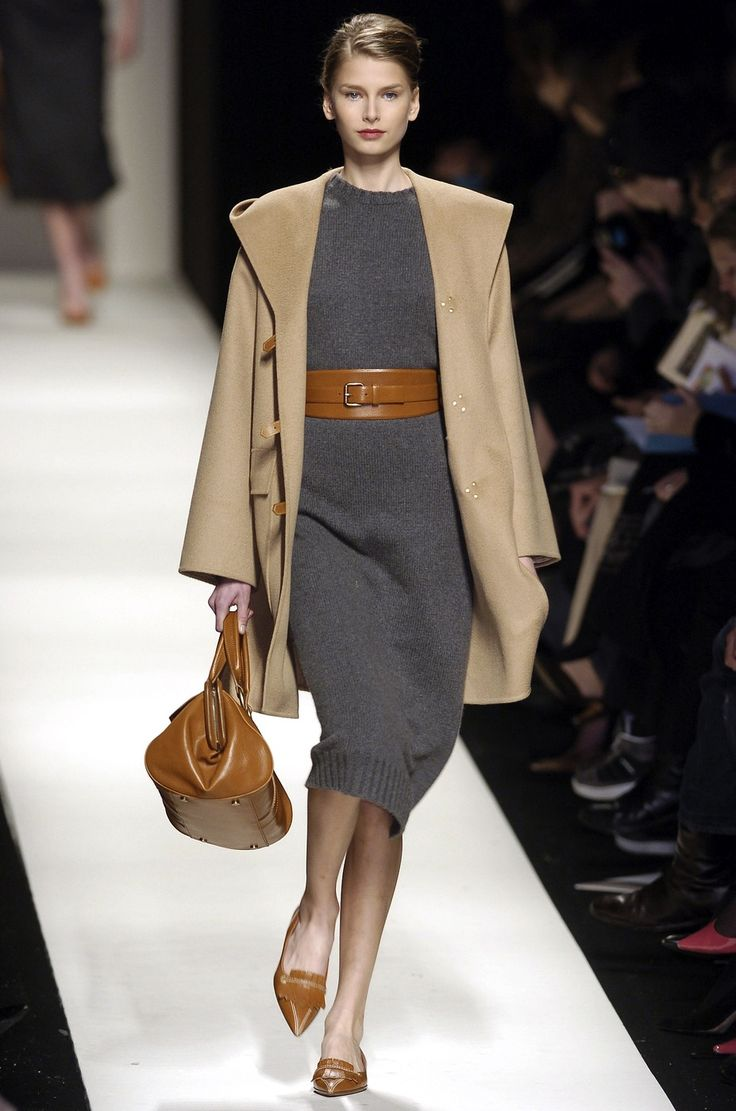 Céline. LOVE gray and camel together, so chic.