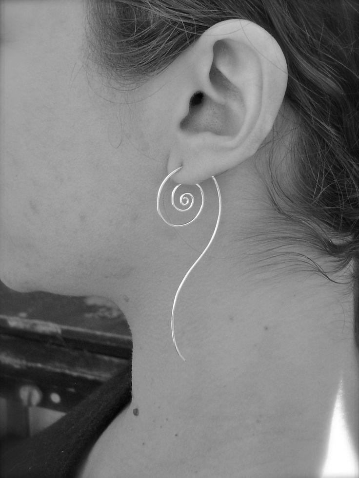Unfurl Earrings in Eco Friendly Recycled Sterling Silver.