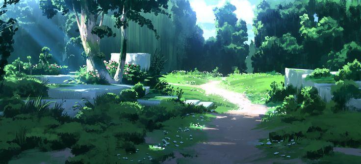 Zelda Inspired Environment Sketch, Espen Olsen Sætervik on ArtStation at https://www.artstation.com/artwork/VgB9g