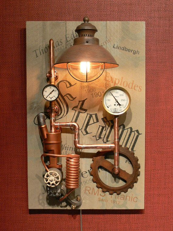 Reserved For Diamond   Steampunk   Wall Decor   Wall Lamp   Steam Punk    Lighting   Art   Edison   Gauges   Part 71