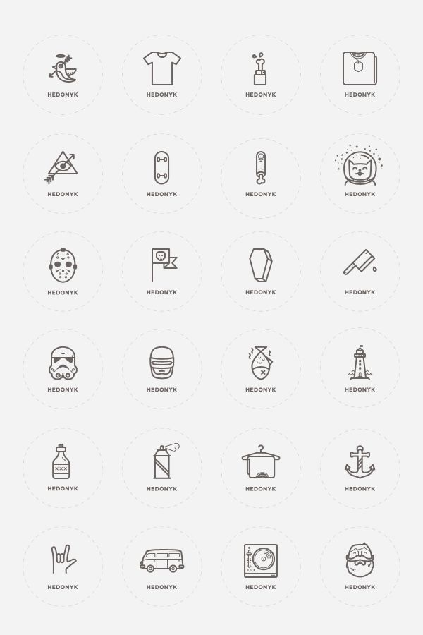 24 Icons of a Clothing Brand on Behance