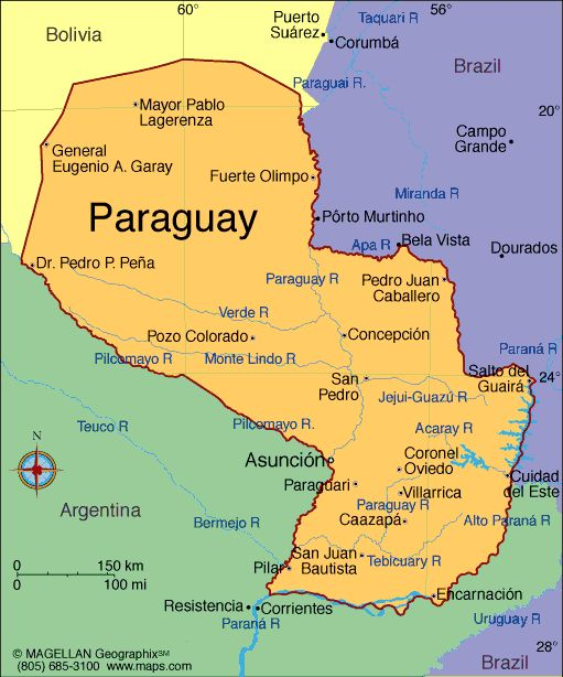 Paraguay, officially the Republic of Paraguay, is a landlocked country in central South America, bordered by Argentina to the south and southwest, Brazil to the east and northeast, and Bolivia to the northwest. Due to its central location in South America, it is sometimes referred to as Corazón de América. Founded: May 14, 1811  *  Population: 6.80 million (2013). * Capital: Asunción