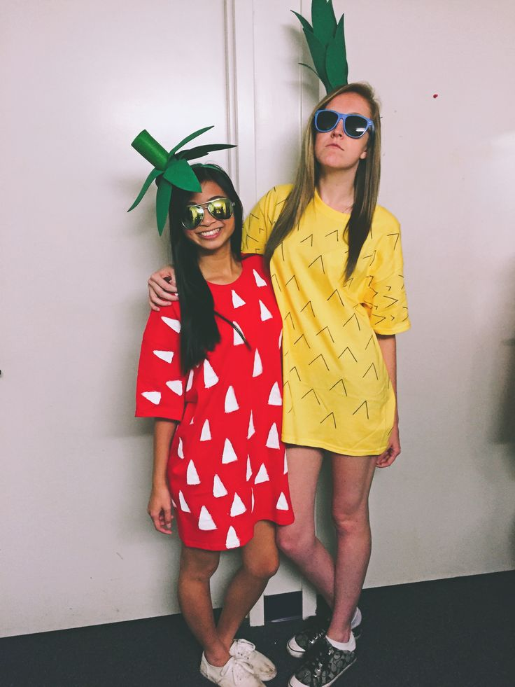 Strawberry costume and pineapple costume! Halloween costume ideas