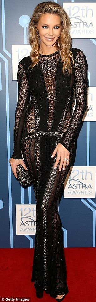 Jennifer Hawkins wore a Roberto Cavalli gown to ASTRA Awards in Sydney