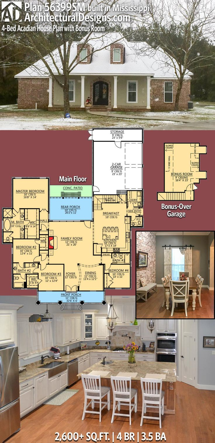 Elegant Our Client Built Architectural Designs House Plan 56399SM In Mississippi  With Some Slight Modifications To The