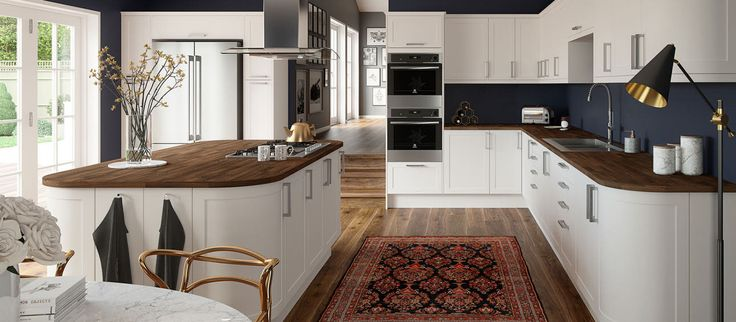 The Shaker style Dunham White kitchen has a classic look with subtle contemporary vibes