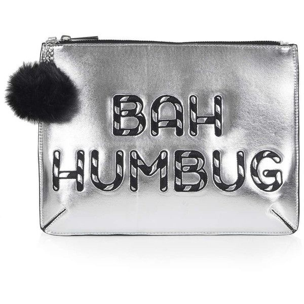 TOPSHOP Bah Humbug Christmas Clutch ($38) ❤ liked on Polyvore featuring bags, handbags, clutches, gold, topshop handbags, party clutches, topshop purse, christmas handbags and topshop