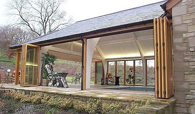 Patio Structures With Folding Glass Doors   Google Search | The Woodburn    Exterior Space | Pinterest | Glass Doors, Patios And Doors