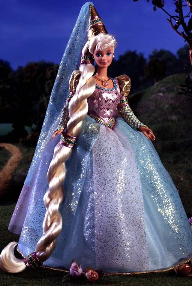 Barbie as Rapunzel. Gosh this makes me feel old. Which is odd, because I'm not. I used to be addicted to the interactive CD-ROM game that came with this doll. Ah, the old days.