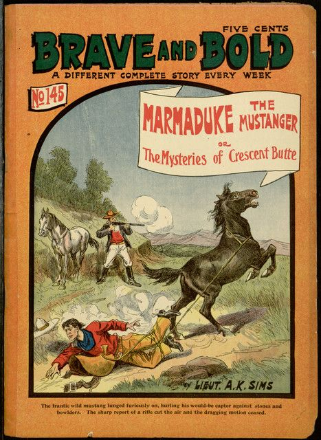 Marmaduke, the mustanger; or, The mysteries of Crescent Butte (1905) by Lieut. A. K. Sims.