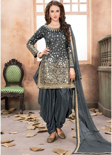 b68e190c2c Grey Art Silk Punjabi Salwar Suit With Dupatta in 2019 | bankim ...