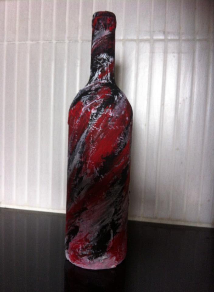 Modern Art on reused bottle: