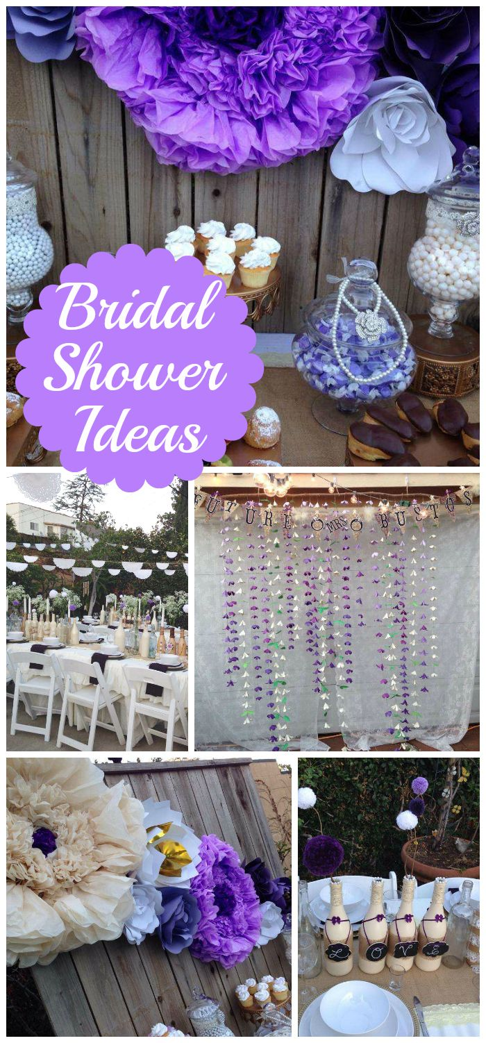 A purple backyard bridal shower with paper flowers and a delicious dessert table!  See more party planning ideas at CatchMyParty.com!