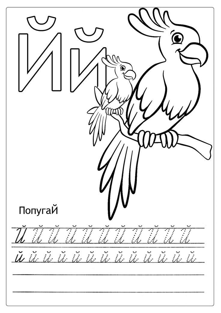 Раскраски Алфавит Животные и детеныши с буквой й пропись