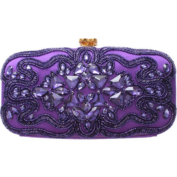 OSCAR DE LA RENTA Goa Jewel Clutch ($1,595) ❤ liked on Polyvore featuring bags, handbags, clutches, purses, bolsas, mulberry, cocktail purse, purple purse, special occasion handbags and oscar de la renta purse