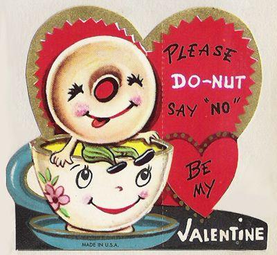 please do-nut say 'no' - vintage valentine.