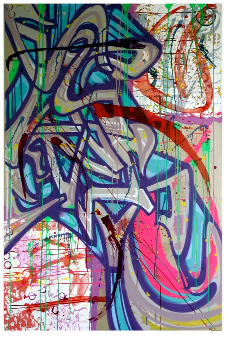 """This work marks an important period in the artist's production. Here he inserts collage and a New York City subway map. Symbolic of the historic New York graffiti scene, the surfaces and interiors of trains offered the precursors—soon to be followed by a whole graffiti scene—two media of choice in ample quantity to establish their signature, formulate new styles, and thus gain the recognition of their peers. Here we find not only Sharp's characteristic """"wild style"""" but also references to…"""