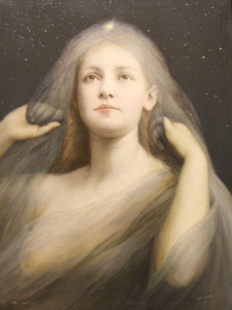 """""""Per Aspera ad astra; """"a rough road leads to the stars"""" Gabriel von Max  1890 Pole Star, my guardian angel portrait of the moon."""