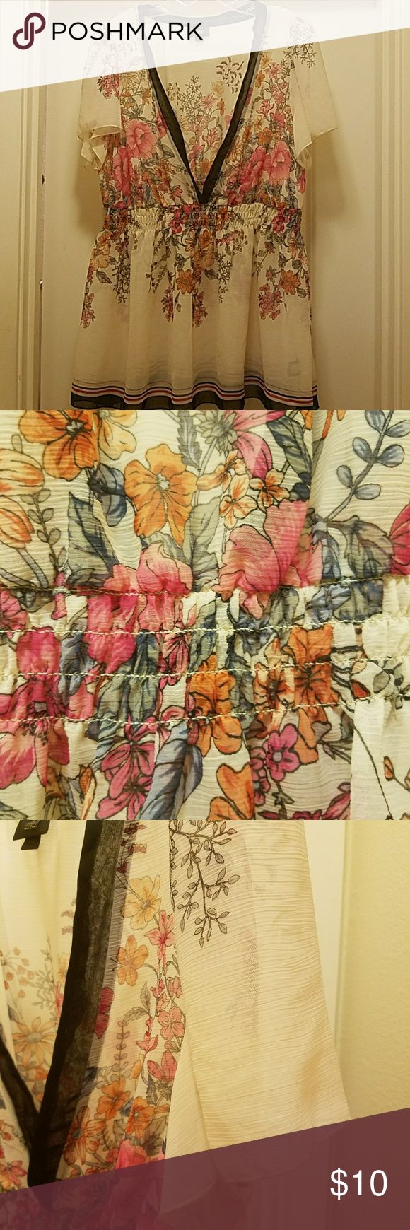 Chiffon sheer floral print blouse Cream chiffon print blouse with pink and orange floral print. Blouse has flutter sleeves and elastic band to show off your waist! Size 16w/18w Mossimo Supply Co. Tops Blouses