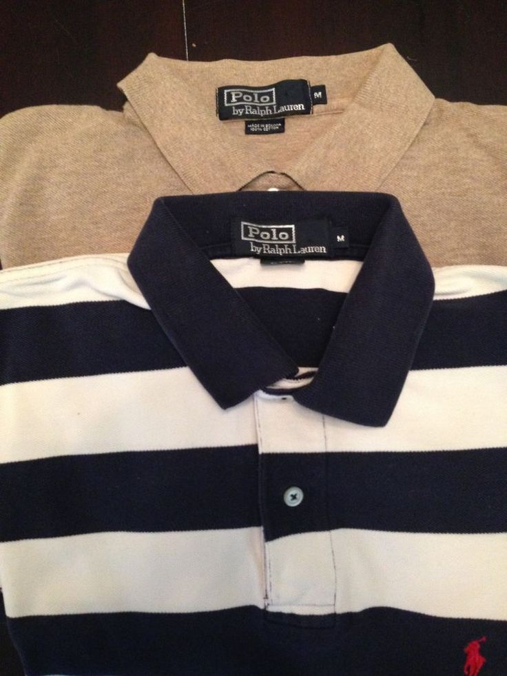 Two Ralph Lauren Polo Shirts Striped Navy Blue White Tan/Brown RL POLOS sale wow #RalphLauren #PoloRugby