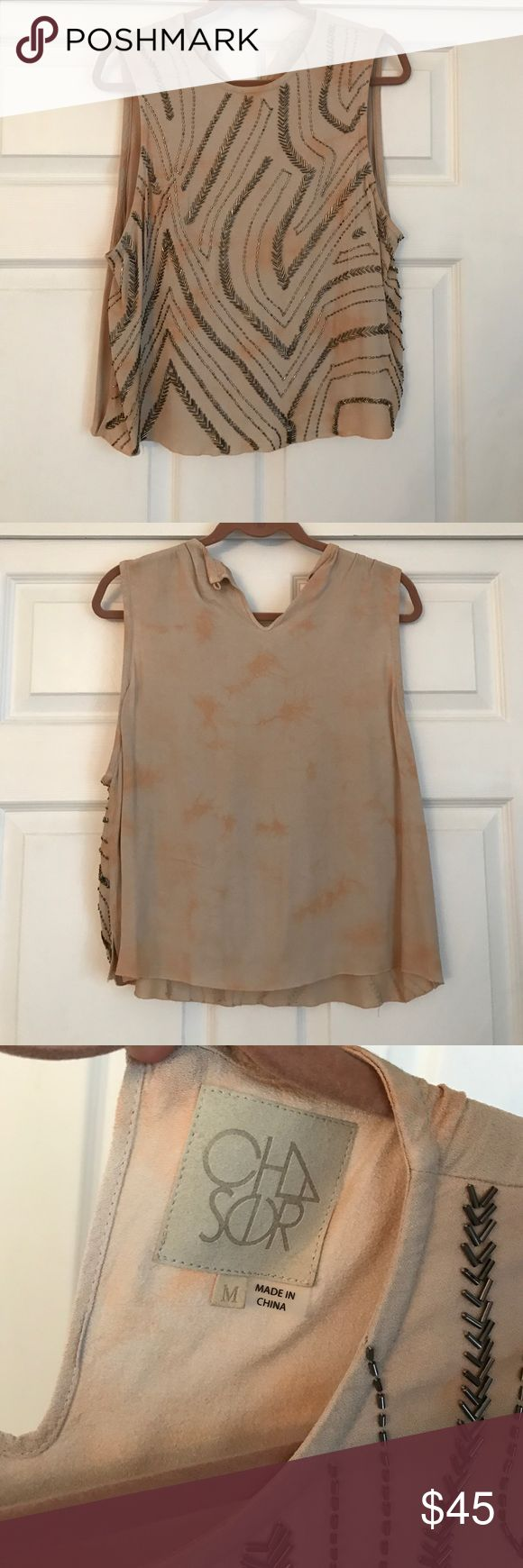 ACHSOR Sequin Tank Top Selling this never-worn sequin tank top in a size medium. I'm not positive how to pronounce the brand but it's one that Nordstrom carries. The pattern is a beige/tan tie-dye with sequins all over the front. It has an eyelet closure on the back. Nordstrom Tops Tank Tops
