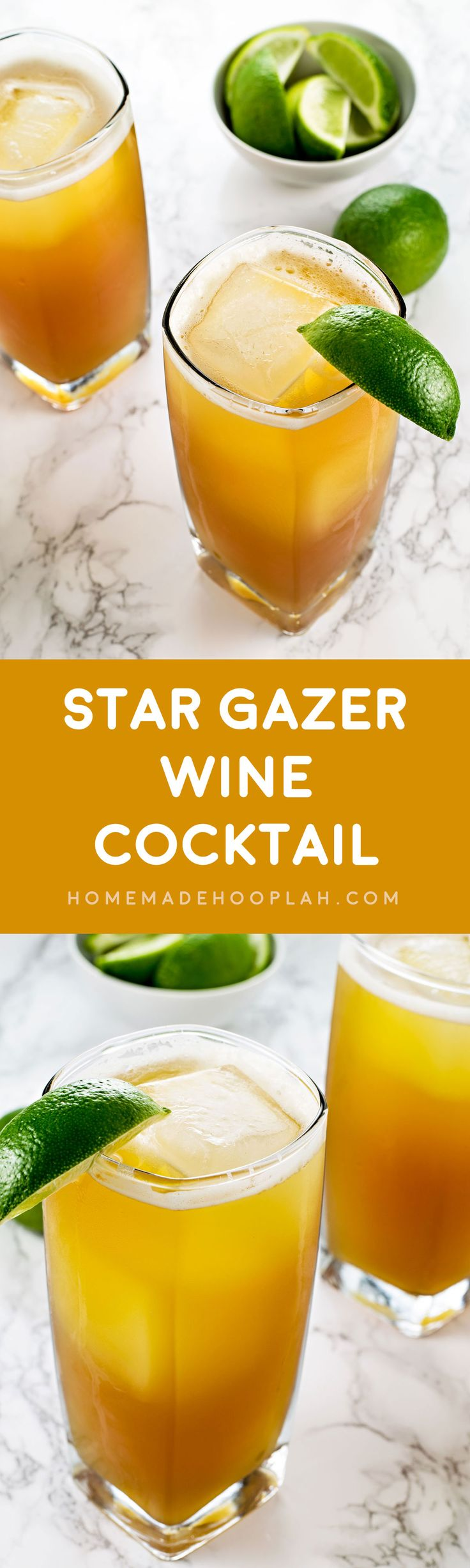 Star Gazer Wine Cocktail! A soft and sweet cocktail flavored with vanilla, pinea…