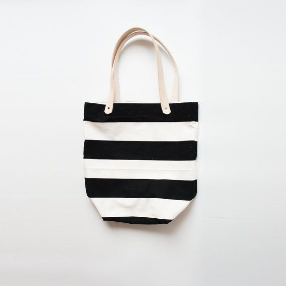 Black and White Striped Tote by ribandhull on Etsy