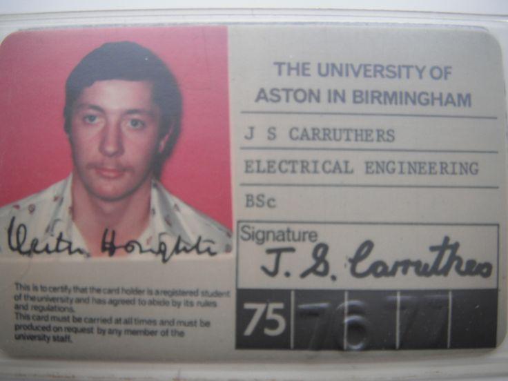 Aston Uni student ID card 1975-1978