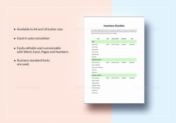 Editable Checklist Template Word Awesome Sample Food Inventory 10 Document In Pdf Excel Checklist Template Templates List Template