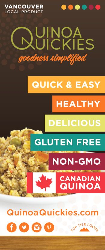 Our store banner for Quinoa Quickies.   Made of 100% Canadian golden quinoa and all-natural ingredients, our West Coast inspired Quinoa Quickies are delicious side-dishes that are healthy and easy to prepare. They are quick nutritious meals that support your active lifestyle with natural goodness. Quinoa Quickies are Goodness Simplified!  Visit quinoaquickies.com for more info on Quinoa Quickies.  #quinoaquickies #toptierfoods