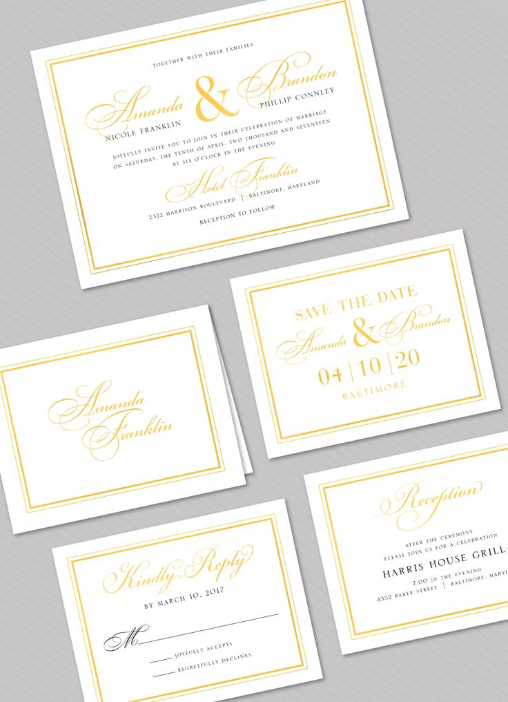 Classic Shine Foil Pressed Wedding Suite: Invitation, Folded Note, Save the Date, Reply Card, Reception Card by Stacy Claire Boyd. Foil Available in Gold, Rose gold, Silver, Copper, and Red.