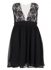 Lace Skater Dress Black/White