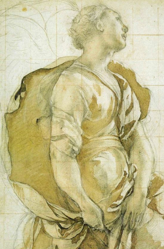 Jacopo Pontormo (Italian Mannerist) Study of Angel for the Annunciation (Capponi Chapel) c. 1527-1528 Black chalk and yellowish brown ink wash over traces of red chalk, heightened with traces of white, on paper. 15 3/8 x 8 1/2 in. Uffizi, Florence, Italy.