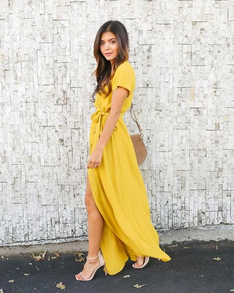 Solid Bardot Wrap Dress - Mustard