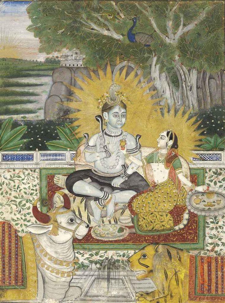 Shiva and Parvati seated on a terrace. Jodhpur, 19th century.