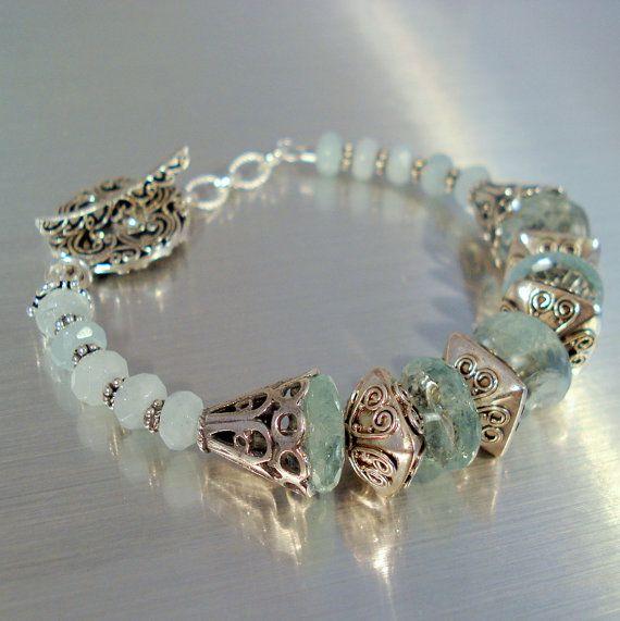 Aquamarine Bracelet Statement Bracelet by JewelryByJacoby on