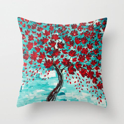 cherry tree pillow art pillow throw pillows red pillow turquoise pillow teal pillow decorative pillows pillow covers pillows for couch