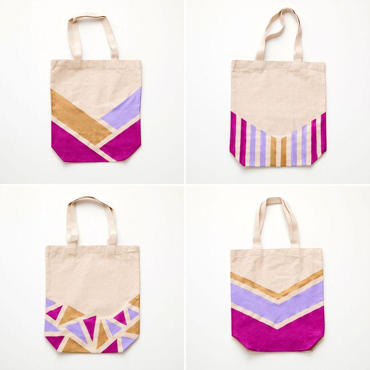 Cómo hacer bolsas de tela con motivos geométricos