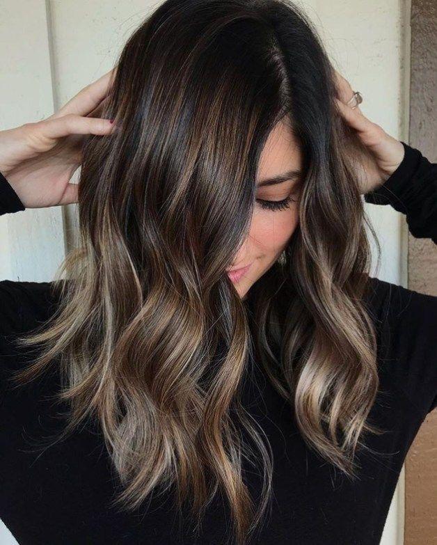55 Schone Frisuren Fur Dunkles Haar Haarfarben Haarfarbe Balayage Dunkle Haare